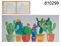 Canvas print, colourful cactus, linen on wooden ...
