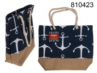 Dark blue shopper, white anchor, with rope ...