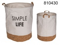 Cotton laundry bag, with cork bottom, Simple ...