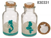 Round glass bottle with cork lid, mermaid, filled ...