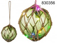 Green Glas ball in rope net, with 12 multicolour ...