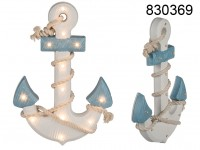 Wooden anchor with rope & 12 warm white LED, ca. ...