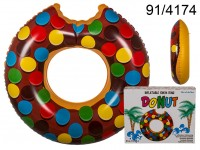 Inflatable swim ring, Brown Donut, D: ca. 119 cm, ...