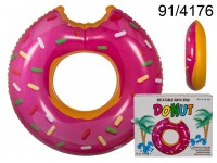 Inflatable swim ring, Pink Donut, D: ca. 119 cm, ...