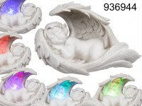 Sleeping polyresin angel in wings with colour ...