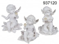 Sitting polyresin angel with pearl on flower, ca. ...