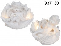 Lying polyresin angel with pearl in shell & LED, ...