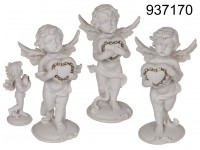 Standing Polyresin-angel with silver coloured ...