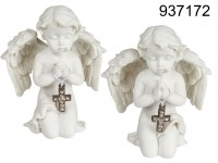 Kneeling polyresin angel with silver coloured ...