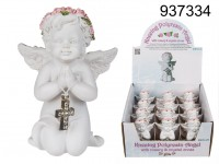 Kneeling polyresin angel with pink coloured ...