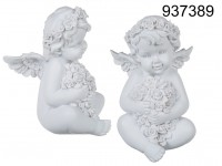 Sitting polyresin angel with white coloured ...