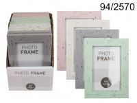 Pastel coloured plastic photo frame in wooden ...