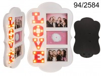Illuminated plastic photo frame, Love, with 14 ...