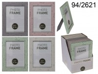 Pastel-Coloured Plastic Photo Frame in Wooden ...
