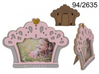 Pink/grey wooden photo frame, Princess Crown, ca. ...