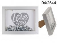 Silver wooden frame, Silver Sequin Glitter, ca. ...