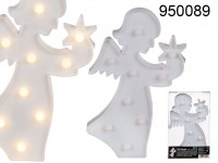 White plastic angel with 9 warm white LED, ca. 28 ...