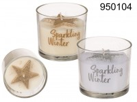 Candle in glass, with glitter star,  Sparkling ...