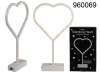 Standing plastic heart with 16 warm white LED, ...
