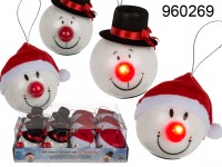 Santa & Snowman ball assorted, with LED flashing ...