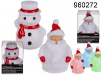 Santa & Snowman with colour changing  LED, ...
