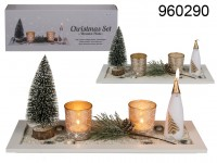 Christmas set with wooden plate, approx. 37 x 14 ...