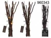 Brown coloured decoration twigs with 20 warmwhite ...