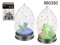 Glass ball with angel & 6 multicoloured LED, with ...