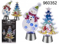 Acrylic tree and snowman with flashing white  LED ...