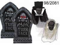 Gravestone, with 2 LED & 2 Zombies (incl. ...