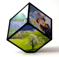 Rotating Cubic Photo Frame - Black